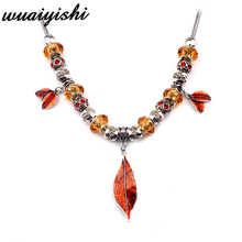 Necklace 20019 Latest Gifts Simple Women New Pendant Fashion Silver Orange Leaves Retro Ms. Gift Charm Hot Sale Beads