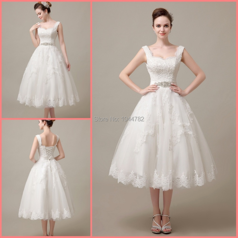 Custom 2015 Elegant Lace Mid Calf Lace Short Wedding Dress Reception ...