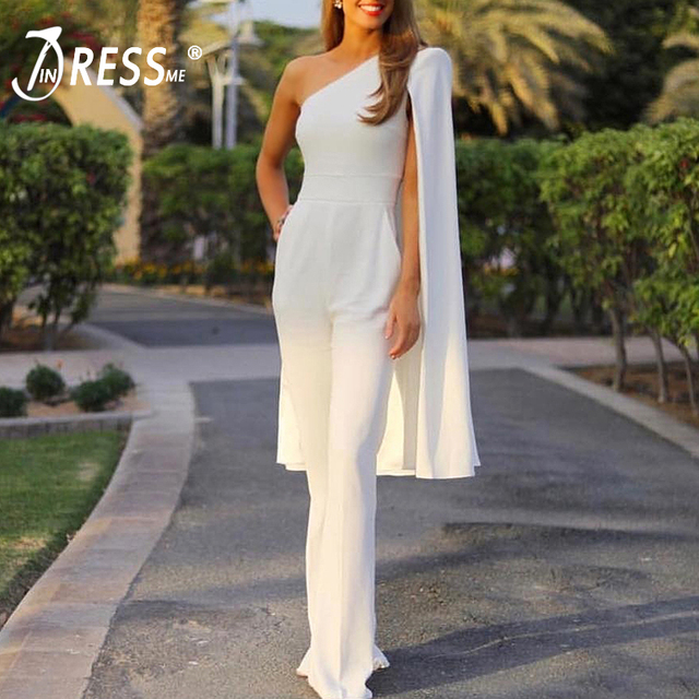 c60756d782f6 INDRESSME Women Runway Jumpsuits One Shoulder Batwing Sleeve Romper  Jumpsuit Sexy Bodycon Bodysuit Party Summer Hot 2018