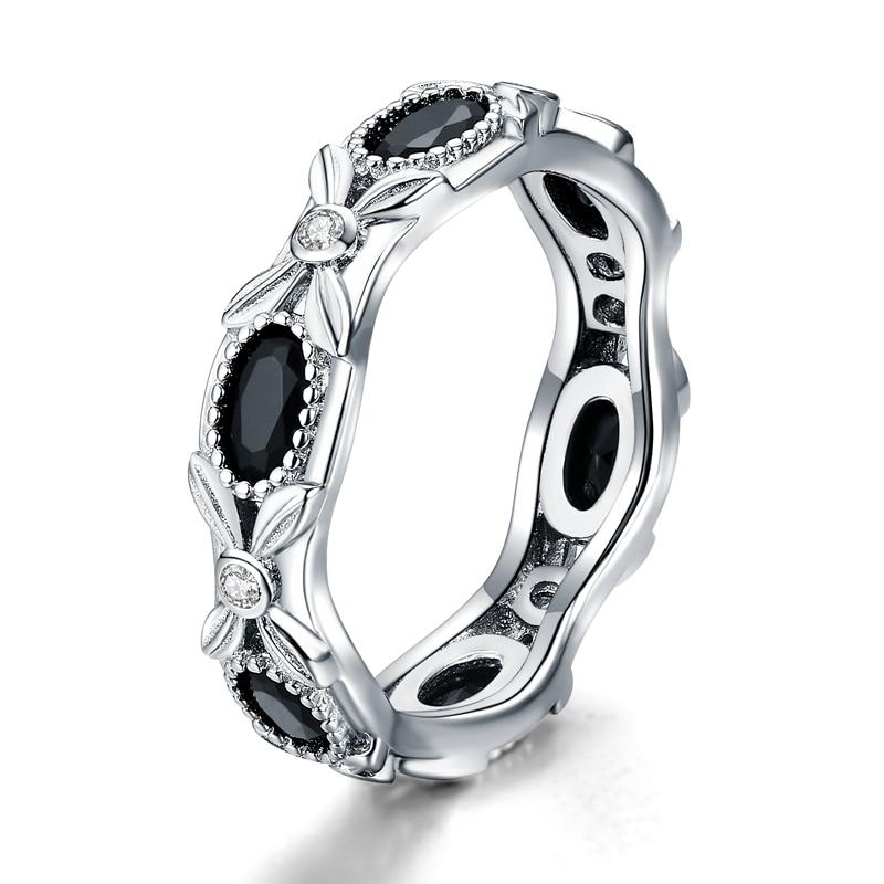 Ringe Edler Schmuck 2019 Neue 925 Sterling Silber Edlen Schmuck Engagement Schwarz Spinell Blume Engagement Ring Für Frauen Anillos Mujer G085