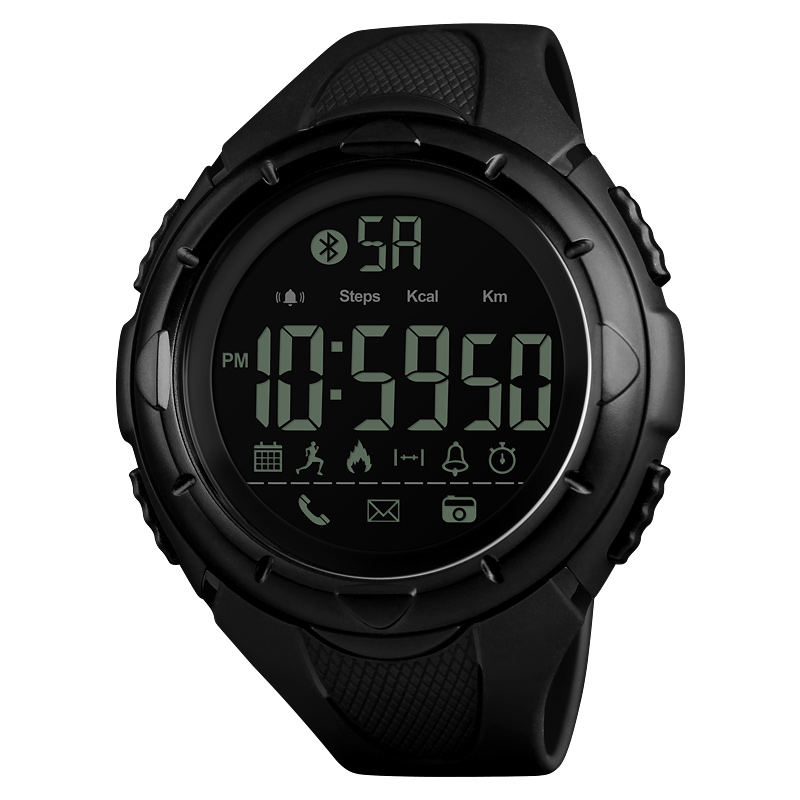 <font><b>SKMEI</b></font> <font><b>1326</b></font> Men's Digital Watch Support IOS Android Operating System App Message Call Remind Runner Pedometer Fitness Watch Black image