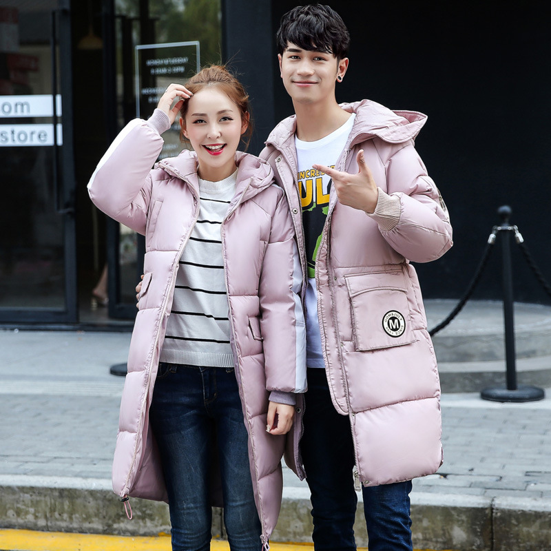 Large Pockets New 2017 Winter Parkas Cotton Padded Men And Women Long Jacket Thicken Cotton Coat Casual Outwears M-3XL women s cotton padded long jacket winter leisure wild long cashmere wool liner coat casual pocket zipepr parkas mujer jy 805