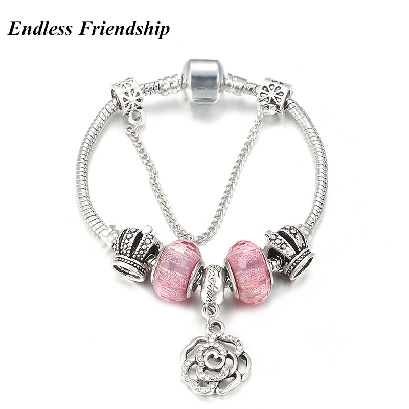 3.00 Mm Snake Chain Lovely Pink Charms Bracelet For Women
