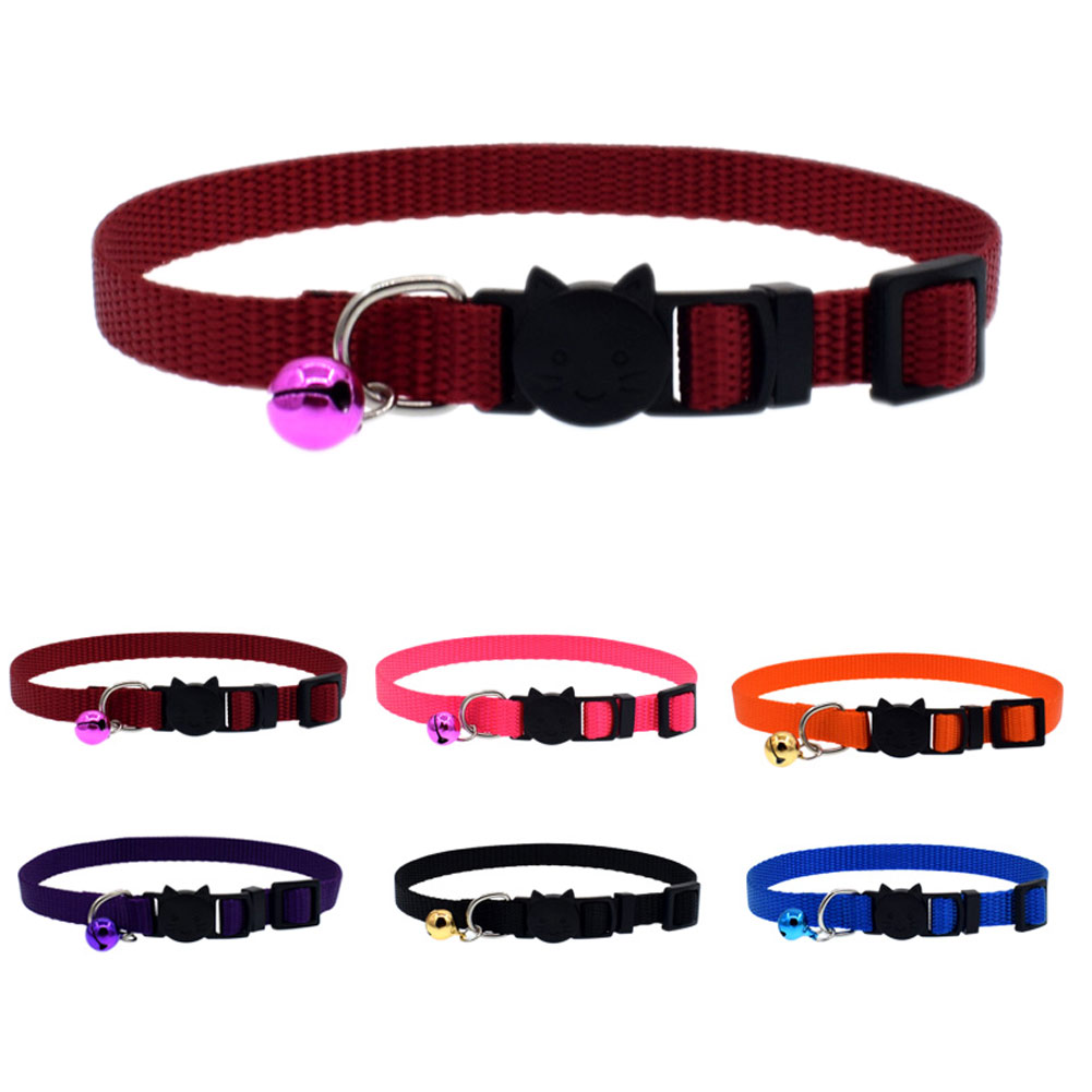 Cat Collar With Bell Safety Buckle Kitten Small Dogs Cats Adjustable Nylon Collars Pet Supplies  88 Xh8z