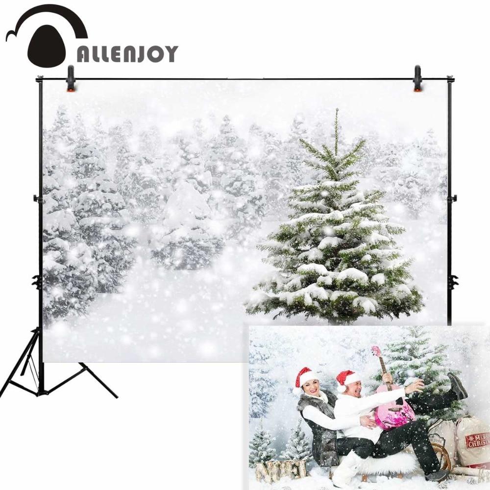 где купить Allenjoy background photography winter snow tree white bokeh Christmas backdrop nature photocall prop customize original design по лучшей цене
