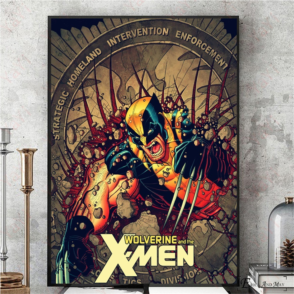 Retro Xmen Wolverine Artwork Vintage Canvas Prints Modern Painting Posters Wall Art Pictures For Living Room Decoration No Frame in Painting Calligraphy from Home Garden