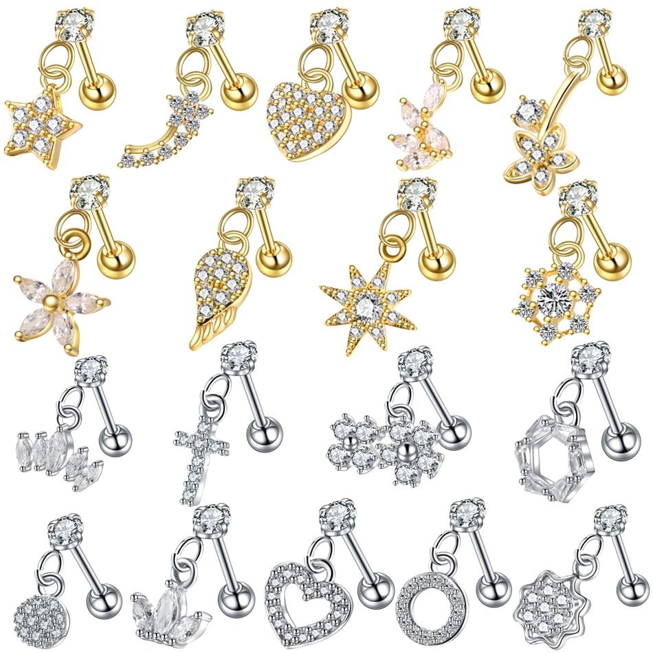 1PC Dangle Ear Tragus Cartilage Piercing Gold Heart Hexagon Crystal Tragus Ear Piercing Plug Daith Earring Helix Cartilage Studs