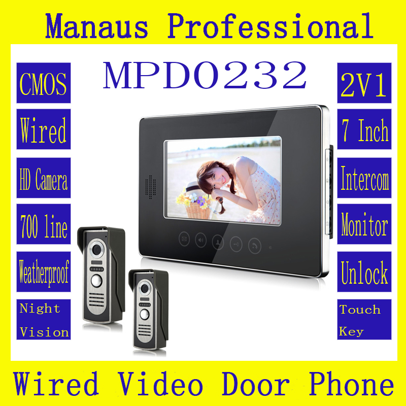 Hot 7 Inch Screen Keypad Display Video Intercom System D232b,High Quality Wired Magnetic Lock Two To One Video Doorphone Device