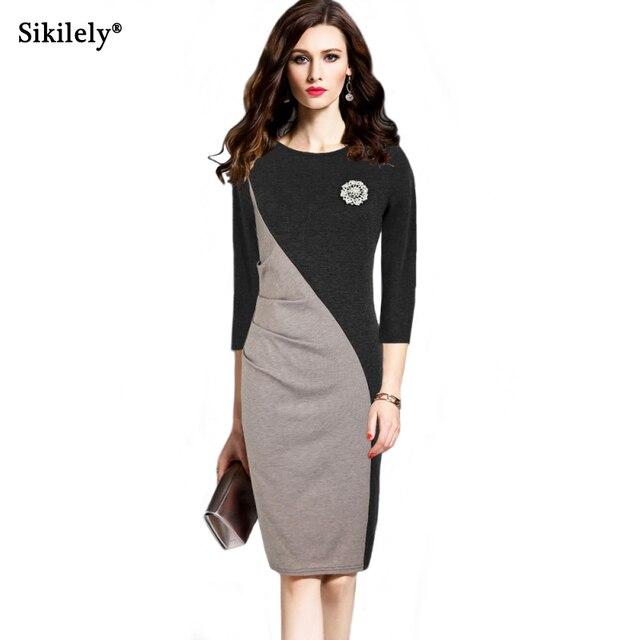 Elegant Pencil Dress Work Office Black Formal 2017 Autumn Business