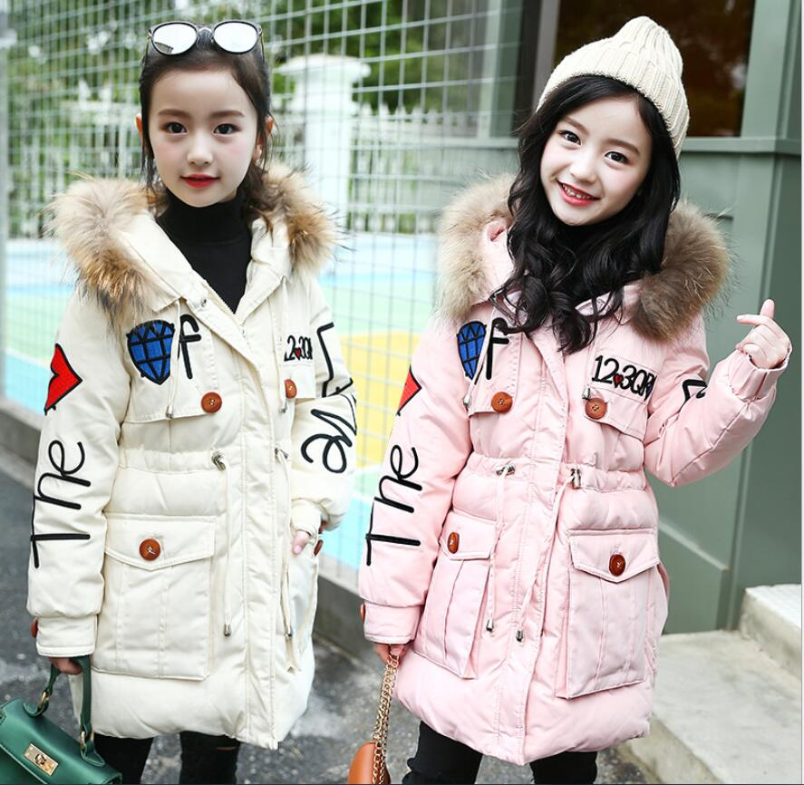 2018 winter clothing fashion princessGirl thickened cotton-padded clothes embroidery girl Warm parkas children wadded outwear inspecting an old house before you buy