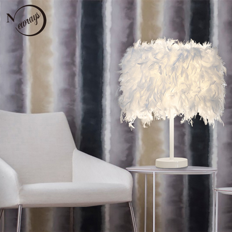 Современный красочный романтический натуральных перьев Nordic настольная лампа E27 220 В светодиодный свет настольная лампа девушка с переключа...