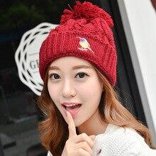 Kingsnower Woolen Caps Ladies Women's Winter Thicken Embroidery Hats Female Knitted Warm Hat for Girls Beanies Skullies JA9032