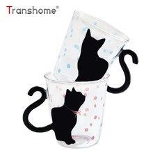 Transhome Cute Cartoon Cat stikla kauss 250ml Cute Creative Cat Kitty Stikla krūzes kausi Tējas kauss Piena kafijas krūze Mūzikas punkti Mājas birojs