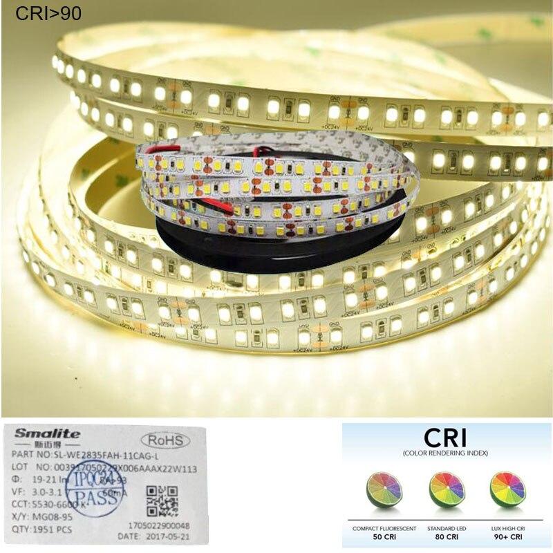 Image 2 - 1m 2m  2018 New CRI 90+ 2835 LED Strip Light White DC 12V 24V Available PCB Width 8mm Shipping Via Economy Air  Mail-in LED Strips from Lights & Lighting