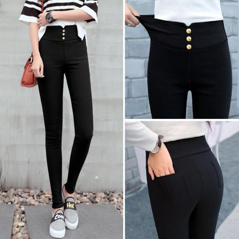 Black High-waist Super elasticity Tight Pants Fashion Black Stretch Female OL Trousers Pencil pants Fiber fabric Plus size 5XL