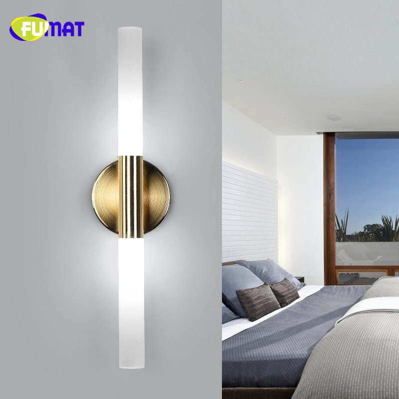 fumat creative wall lamps bedside lamp bedroom double heads wall light gold metal wall sconce hotel