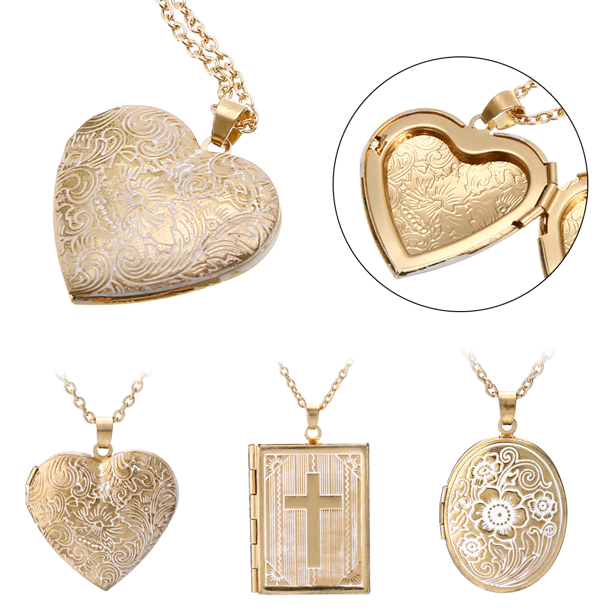Vintage Photo Locket Pendant Necklace Trendy Love Heart Photo Frame Memory Pendant Necklaces For Women Charms Jewelry
