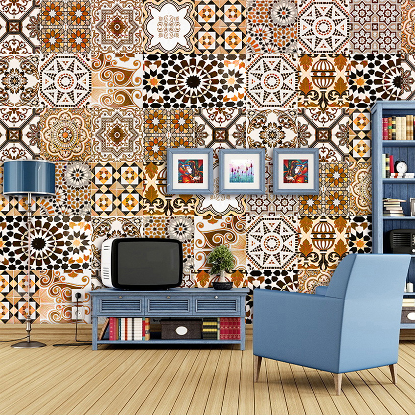 Фото Retro Style Mosaic Pattern Modern Home Decor Wall Art Abstract Painting Living Room Sofa Restaurant Theme Wall Mural Wallpaper