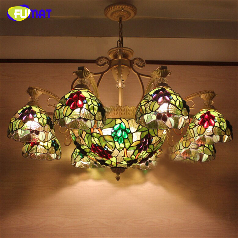 FUMAT Stained Glass Pendant Lights Art Stained Glass Lampshade Lightings Dining Room Living Room LED Glass Grapes Pendant Lamp fumat stained glass roses lightings modern art pendant light for living room restaurant lamp european style pendant lamp lights