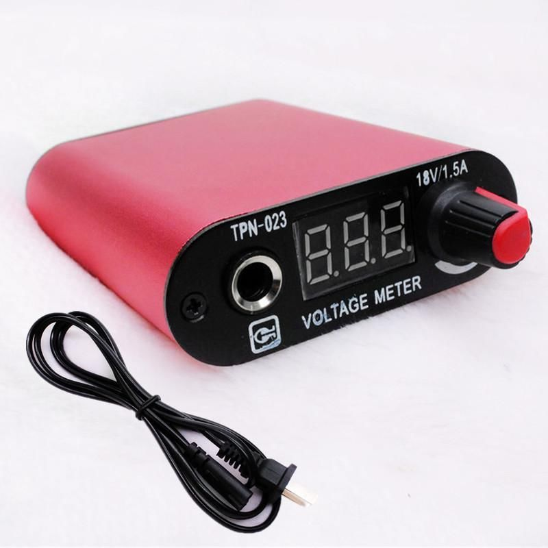 Pro Red LED Screen Professional Mini Tattoo Machine Power Supply With Cord -- TPN-023B
