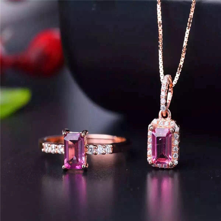 Wholesale wholesale natural powder tourmaline suite 925 inlaid Sterling Silver Pendant + Ring Jewelry two pieces