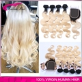 Ombre blonde Hair Extensions #1b/613 human hair Dark Roots Virgin Human Hair 4 Pcs With Closure Ombre Brazilian Hair Body Wave