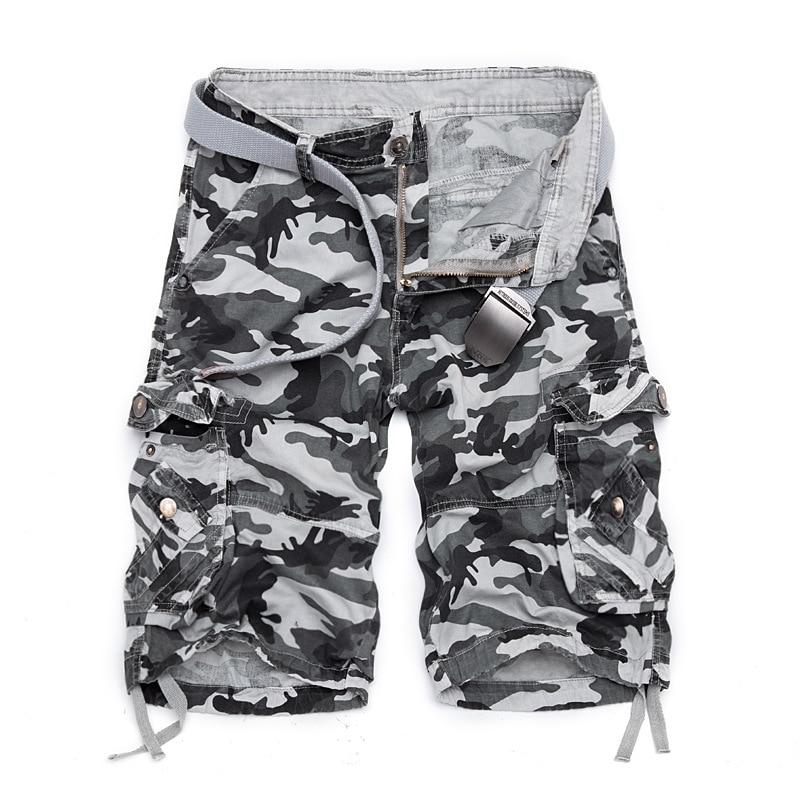 Mens Camouflage Shorts 2017 Summer Casual Short Pants Men Baggy Multi Pocket Military Zipper Cargo Shorts Men Brand Clothing