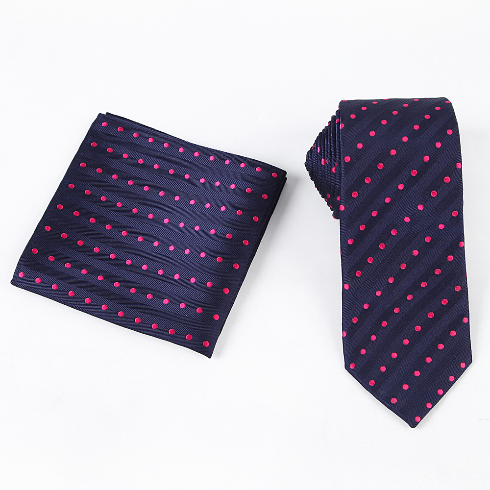 Tailor Smith Necktie Set with Pocket Square Silk Woven Navy Blue - Apparel Accessories - Photo 4