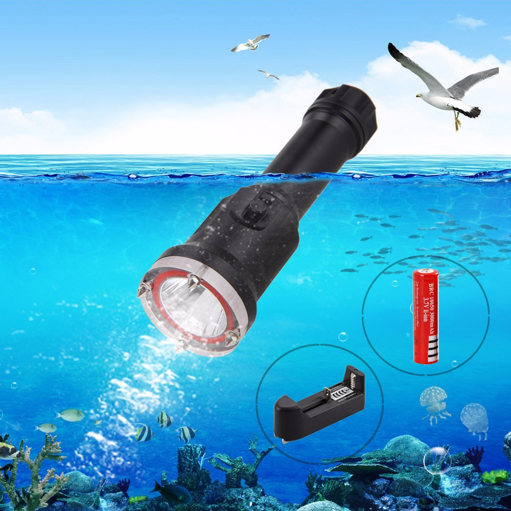 2000LM XM-L2 LED Scuba Diving Lamp Underwater 100m Flashlight Torch 18650 Battery+CH 100m underwater diving flashlight led scuba flashlights light torch diver cree xm l2 use 18650 or 26650 rechargeable batteries