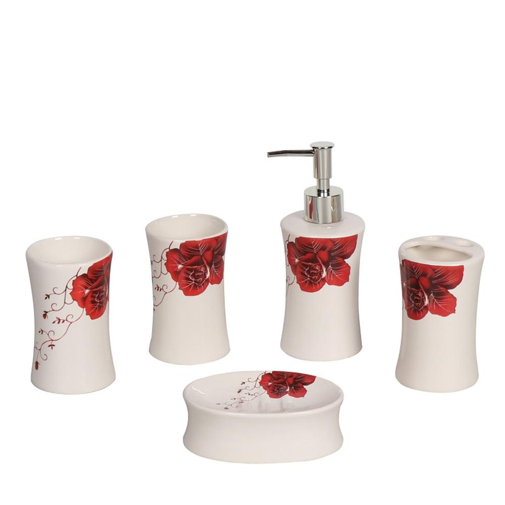 Wedding gift bathroom five pieces wash cups soap dish bathroom supplies LO86332 цены онлайн