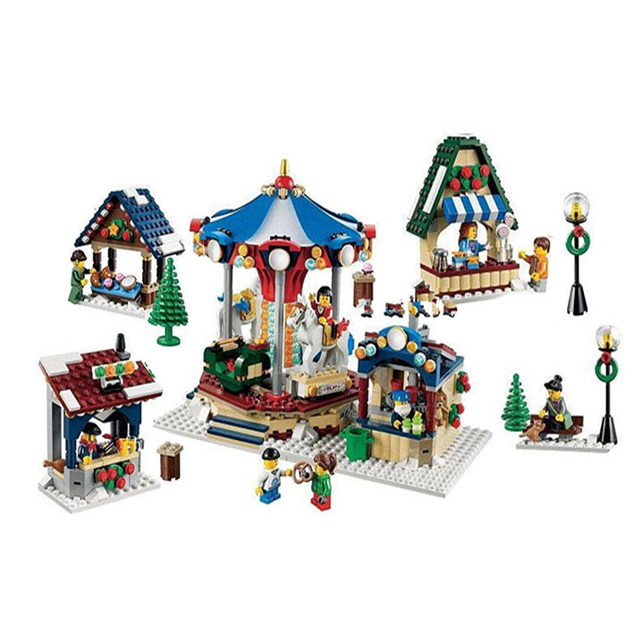 leoging 10235 1412pcs Winter Village Market Carousel Model Building Blocks Bricks Toys For Children birthday Gift lepin 36010 lepin 36010 genuine creative series the winter village market set legoing 10235 building blocks bricks educational toys as gift