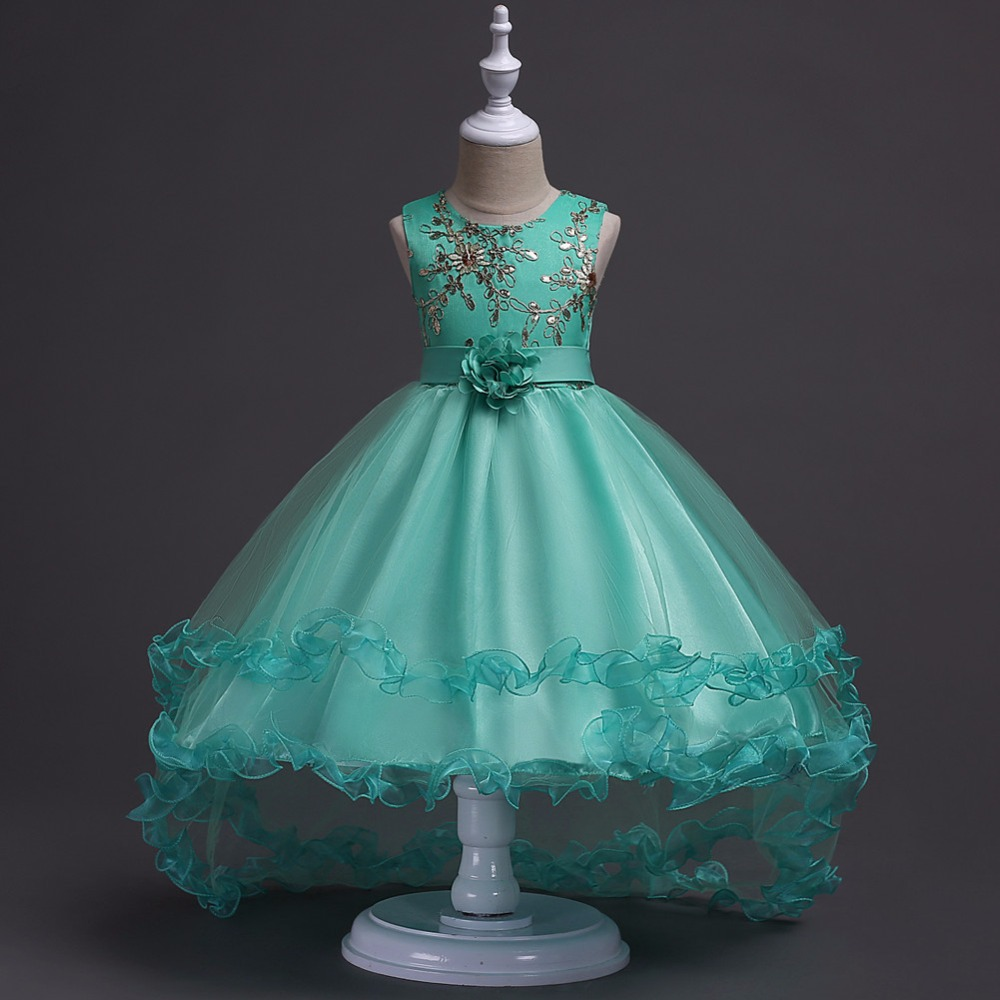 Flower Girl Dress Formal Pageant Wedding Easter Prom Gown Bridesmaid Dress Kids Green blue purple gray color