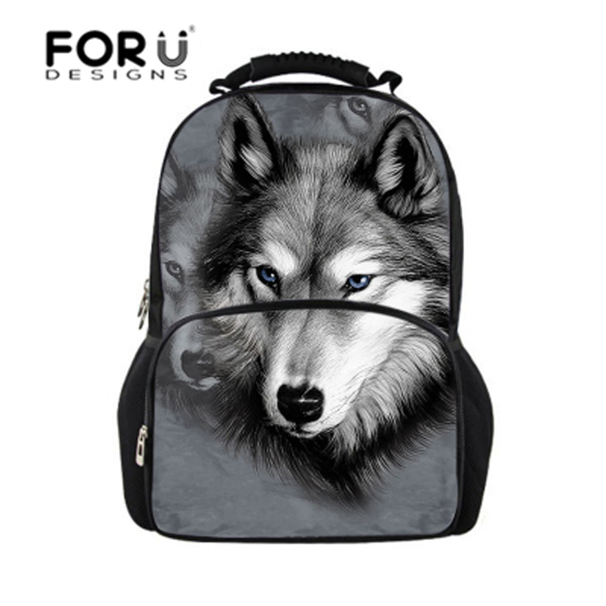 FORUDESIGNS Men Backpack 3D Animal Felt Wolf Printing Backpacks Harajuku Bag Children School Bags Boys College Student Bagpack