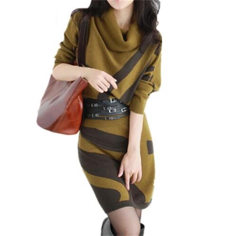 2018 Autumn Winter New Women Dresses Long Sleeve Knit Sweater Dress Turtleneck Slim Lady Accept waist Package hip dresses