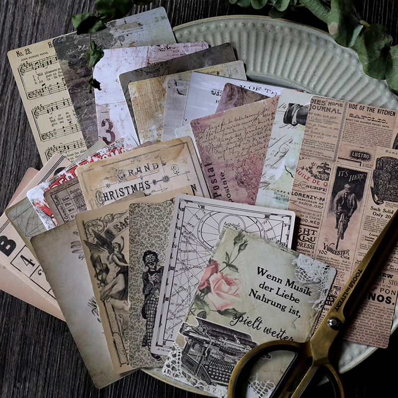 24Pcs/set Vintage series Old newspaper retro objects Material Paper Set for Scrapbooking DIY Projects Album Card Making Craft multiple types transparent clear stamp diy silicone seals scrapbooking card making photo album decoration craft accessories