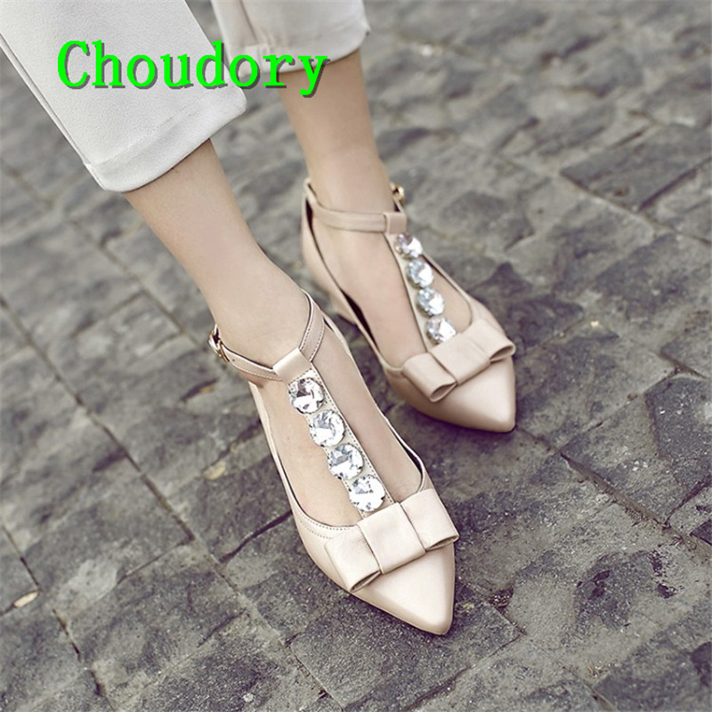 Choudory Party Buckle Strap Crystal Genuine Leather Shallow Women Shoes Med Heels Pointed Toe Butterfly-knot Mary Janes Pumps