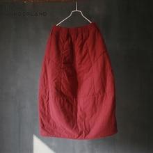 NINI WONDERLAND зимние Утепленные хлопковые винтажные юбки с бутонами женские юбки до середины икры с эластичной резинкой на талии