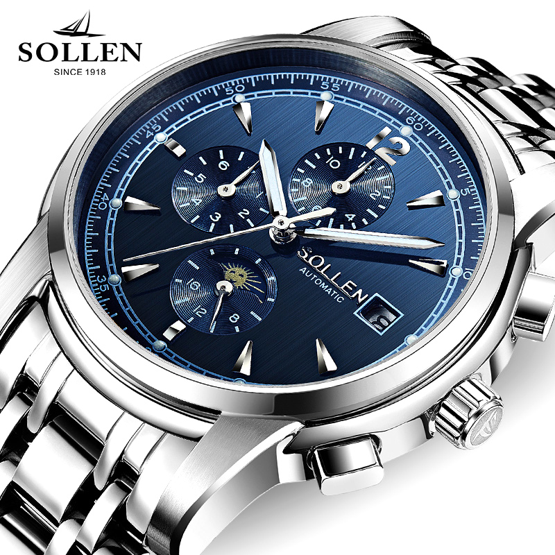 relogio masculino SOLLEN Mens Watches Top Brand Sport  automatic mechanical Watch Men Stainless Steel Waterproof Wristwatch weide popular brand new fashion digital led watch men waterproof sport watches man white dial stainless steel relogio masculino