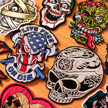 DIY Patch Iron On Patches Clothes Embroidered Punk Skull For Clothing Embroidery Biker Badges