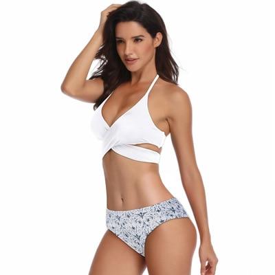 Halter Bikini Set Sexy Low Waist Swimwear Women patchwork Swimsuit 2019 Top Beachwear Biquini