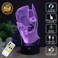 Double-faced man 3D Lamp USB Batman Remote Control LED Decor Bulbing Novelty Lighting Glowing Christmas Gift HUI YUAN Brand