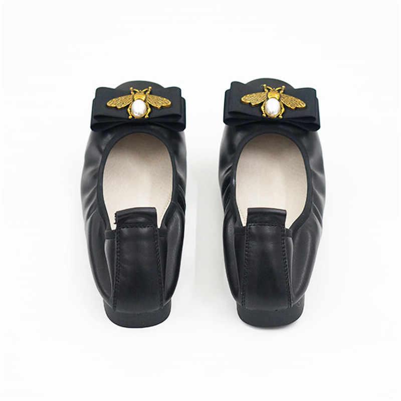 ของแท้รองเท้าบัลเล่ต์หนังผู้หญิงลื่นบนรองเท้าแบนยี่ห้อ Baleriny ผู้หญิง Soft Heel Ballerina หวานโบว์เลดี้รองเท้า Loafers รองเท้า