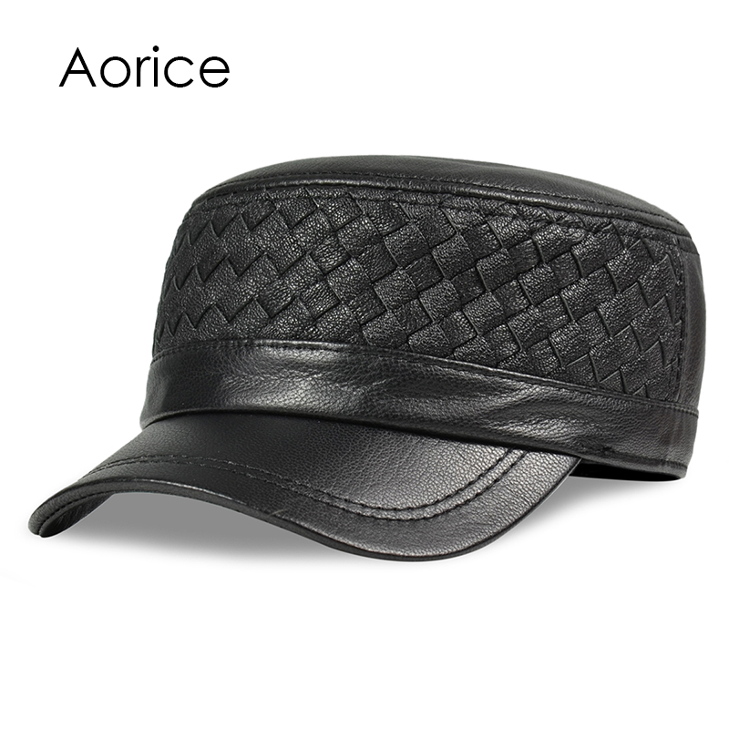 Aorice Genuine Leather Baseball Cap Men Hats And Caps Solid Color Brown Black Leather Leisure Fashion Travel Biker HL187 aorice genuine leather baseball cap men hats and caps solid color brown black leather leisure fashion travel biker hl187