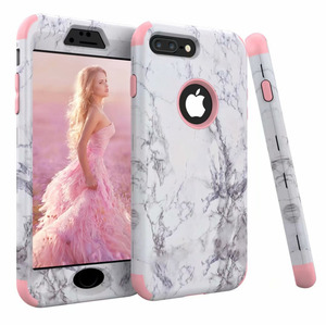 3 in 1 Marble Pattern Bumper 360 Case for iPhone 11 Pro Max X XS XR XS Max 7 6 6S 8 Plus Hard PC Silicone Shockproof Back Cover(China)