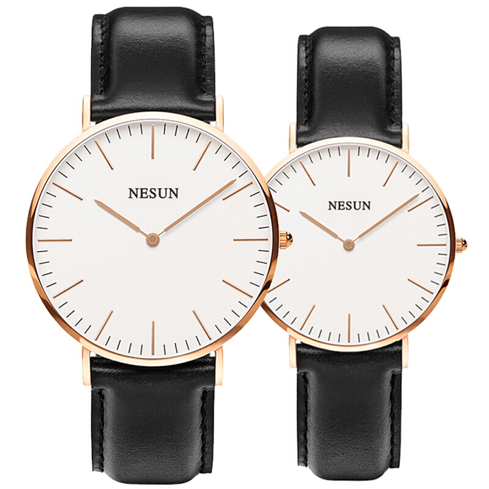 NESUN 8801 Luxury WatchUltra Thin Couple Watches Casual Quartz Watch Genuine Leather Watch Band NESUN 8801 Luxury WatchUltra Thin Couple Watches Casual Quartz Watch Genuine Leather Watch Band