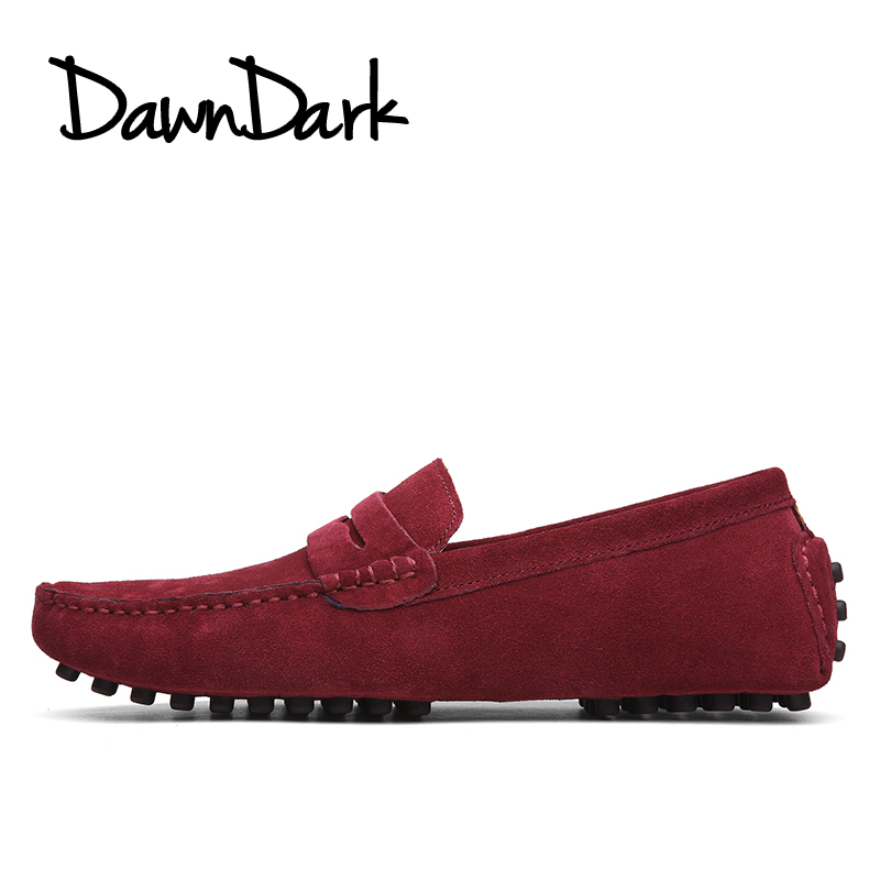 Men's Casual Leather Shoes Wine Brown Men Flats Walking Luxury Shoes Slip on Men Pig Suede Fashion Loafers Big Size men s fashion casual cotton pants brown size 33