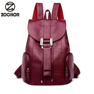 Image 1 - Moda yüksek kaliteli yumuşak deri kadın sırt çantası büyük kapasiteli okul çantası kız için marka omuzdan askili çanta bayan çantası seyahat sırt çantası