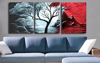Peinture à lhuile sur toile sans cadre | Bricolage, avec numéros, décoration de maison, cadeau unique, peinture artisanale, paysage volcan, 3 pièces, 4050