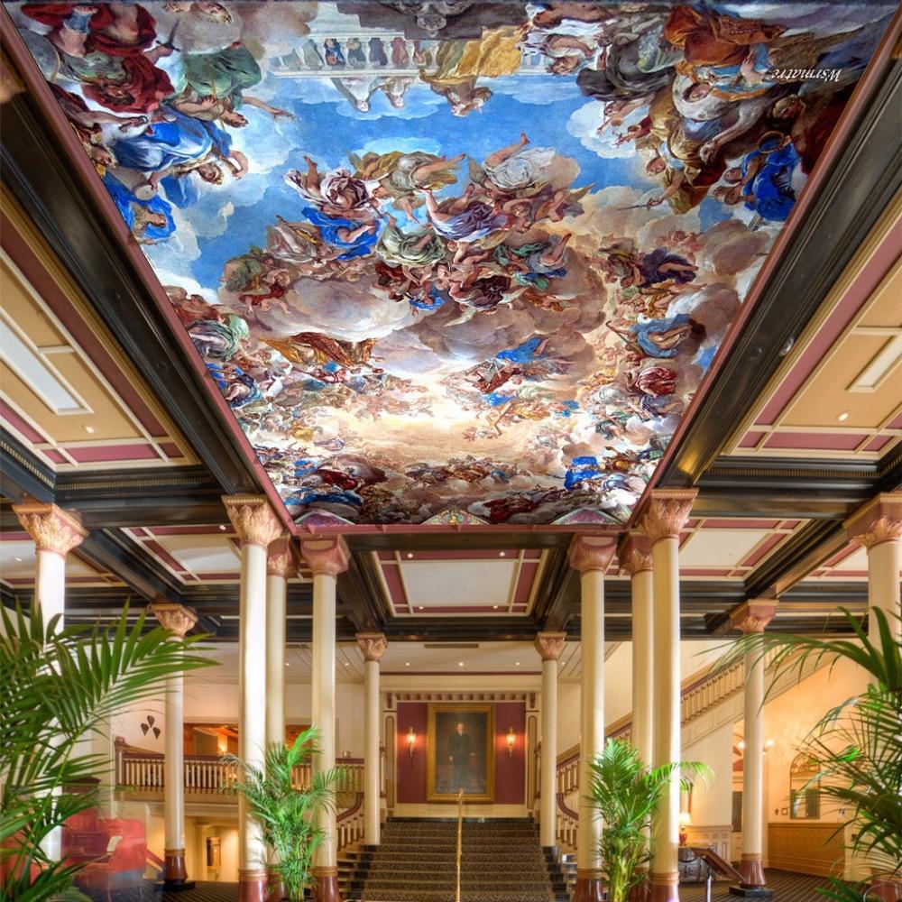 Custom Large 3D Ceiling Murals Wallpaper European Style