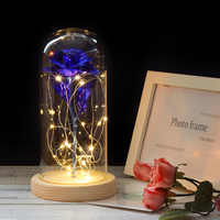 Beauty And The Beast Rose Flowers In a Glass Dome with LED Light Wooden Base For Romantic Valentine's A Birthday Present